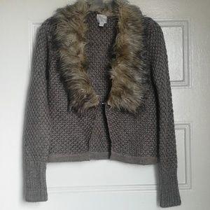 John & Jenn Anthropologie Fur Trimmed Knit Sweater